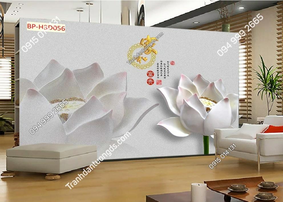 Tranh hoa sen trắng 3D H3D056
