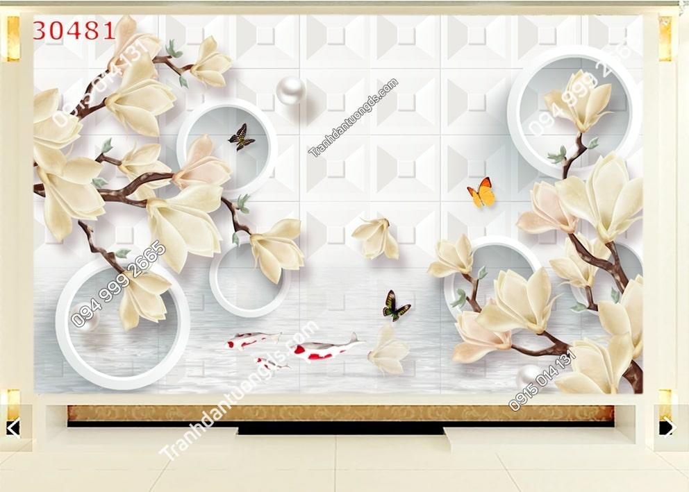 Tranh hoa sứ và bướm 30481