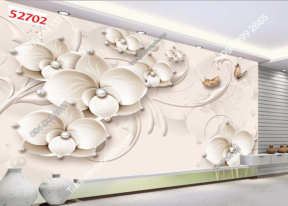 Tranh hoa trắng 3D 52702