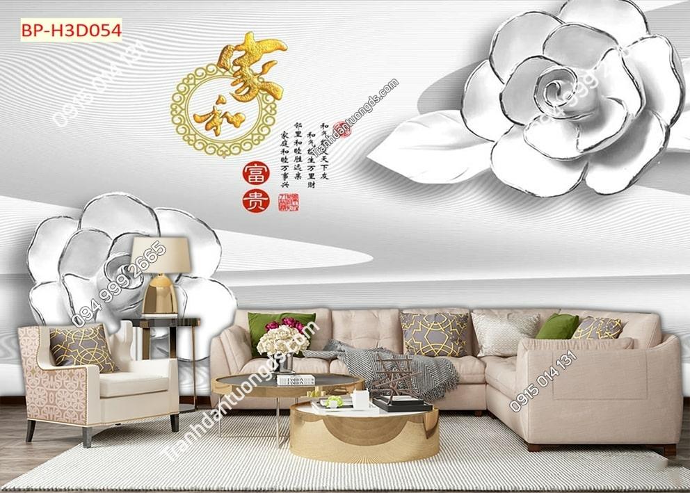 Tranh hoa trắng 3D H3D054