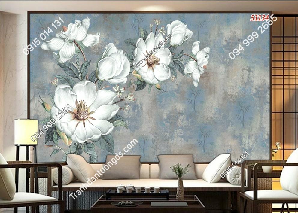 Tranh hoa trắng 3D kiểu vẽ 51134