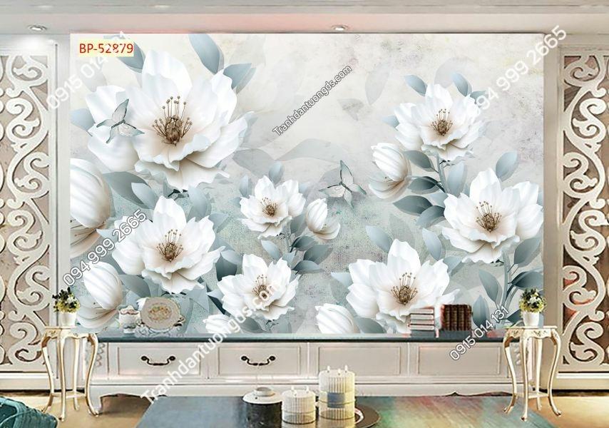 Tranh hoa trắng cánh xanh nhẹ nhàng 52879