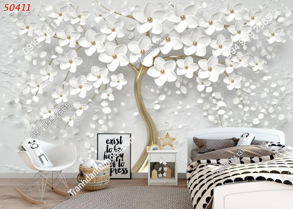 Tranh hoa trắng dán phòng ngủ 50411