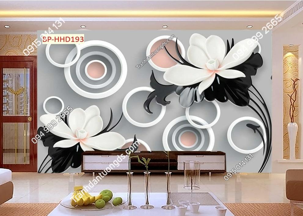 Tranh hoa trắng đen hiện đại HHD193