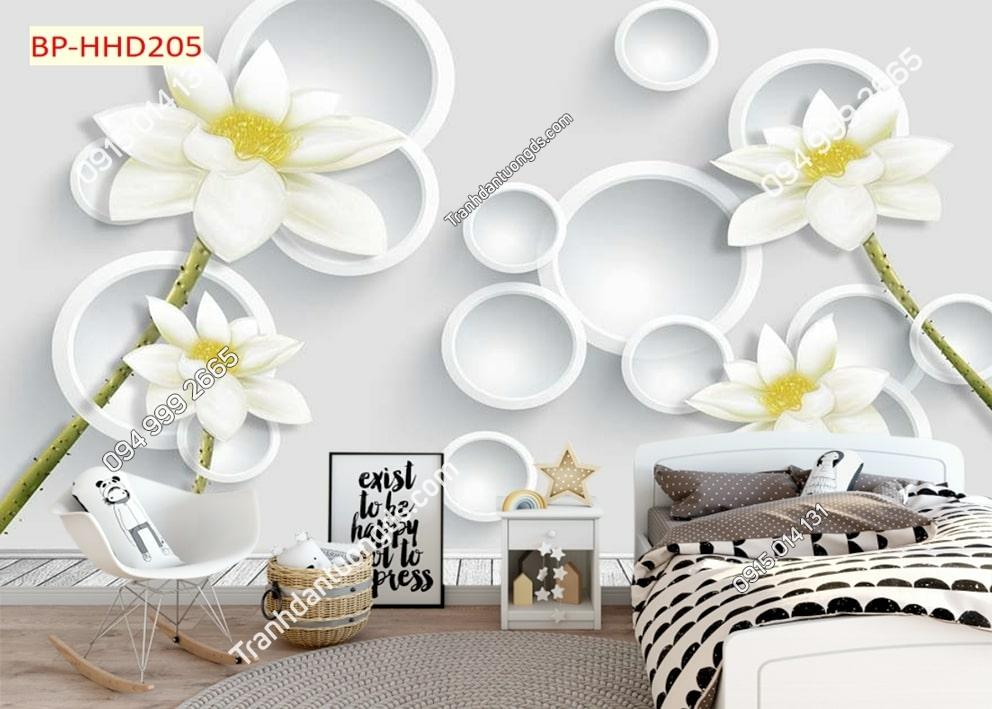 Tranh hoa trắng hiện đại HHD205