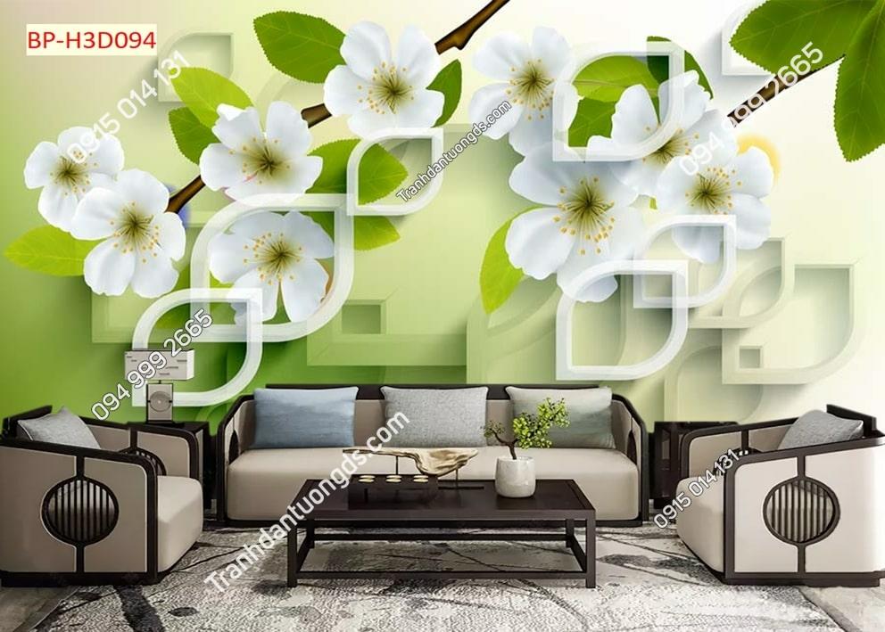 Tranh hoa trắng lá xanh hiện đại H3D094