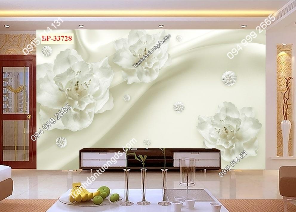 Tranh hoa trắng như dải lụa 33728
