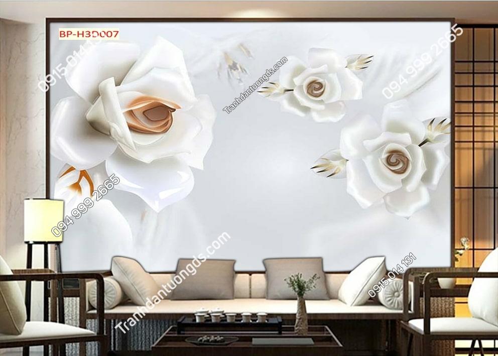 Tranh hoa trắng như lụa H3D007