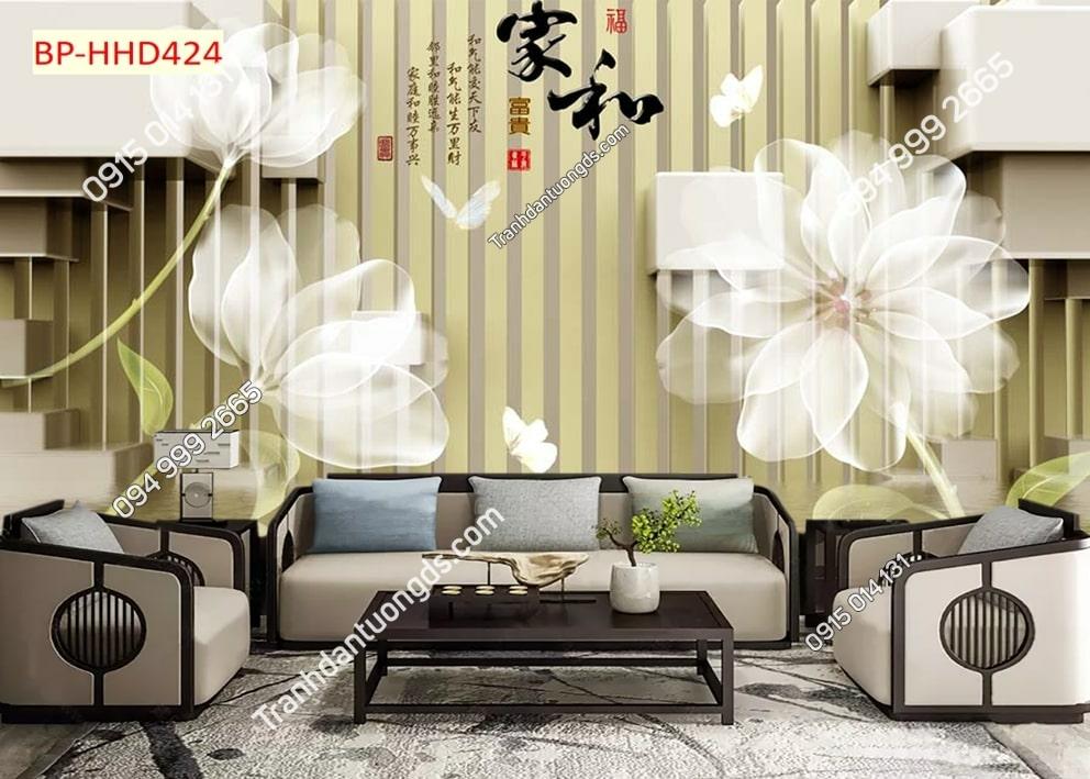 Tranh hoa trắng như mây HHD424