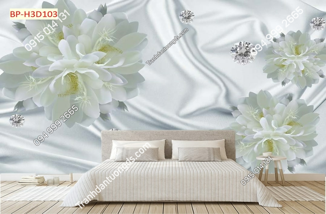 Tranh hoa trắng như nhung H3D103