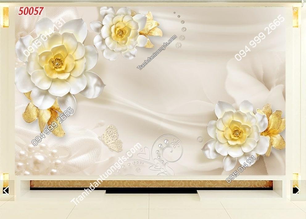 Tranh hoa trắng nhụy vàng 50057
