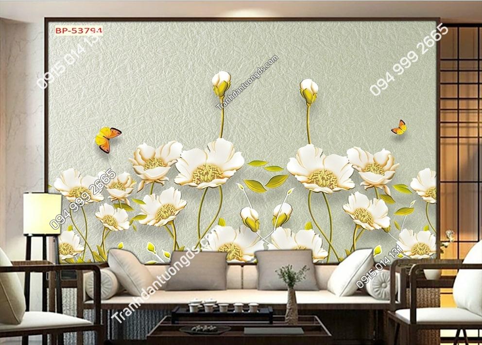 Tranh hoa trắng nhụy vàng 53794