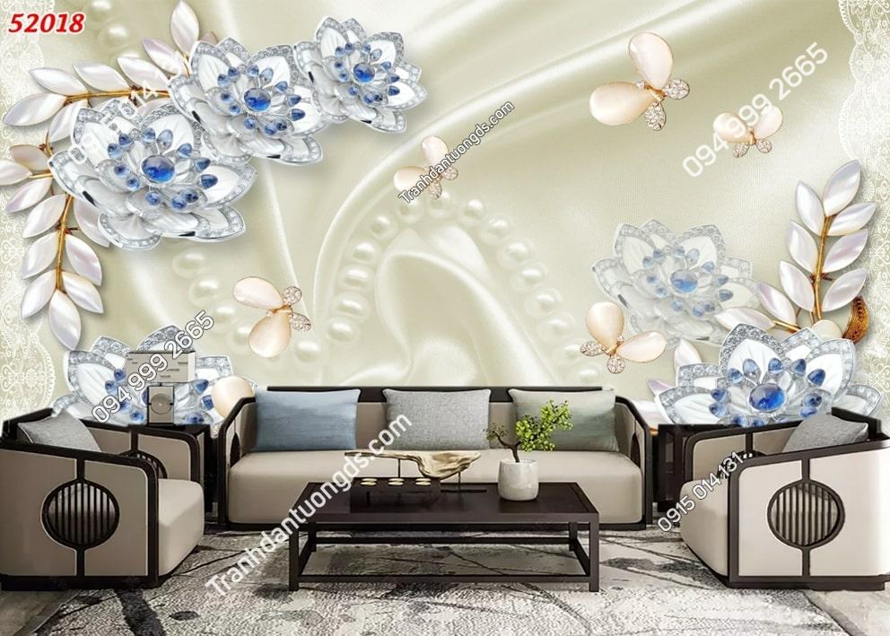 Tranh hoa trắng nhụy xanh 52018