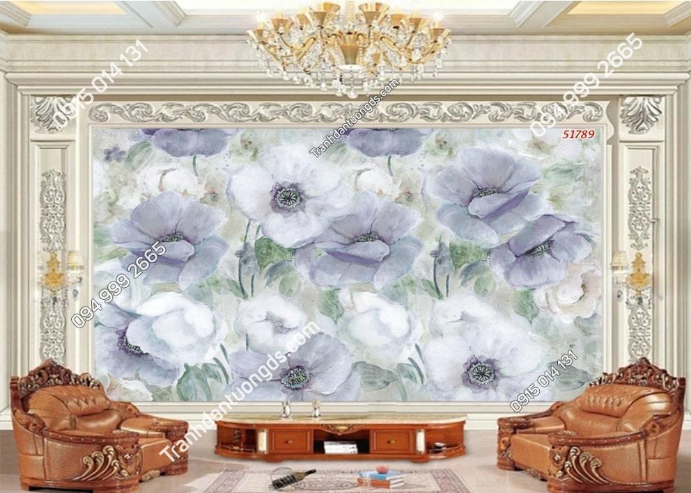 Tranh hoa trắng tím phớt 51789