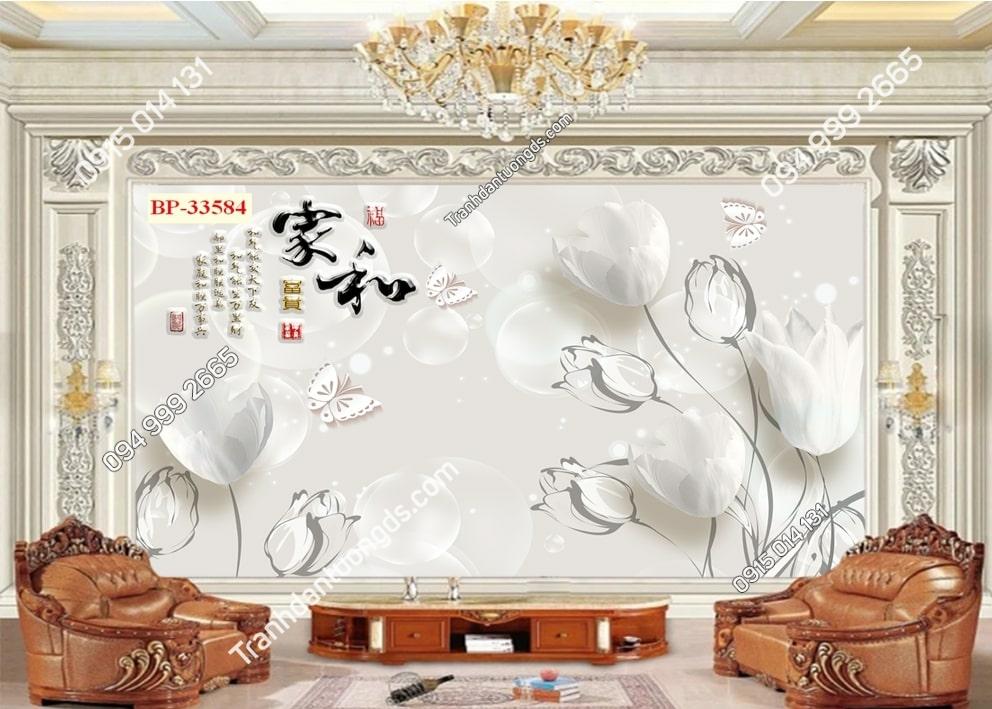 Tranh hoa trắng tinh khôi 33584