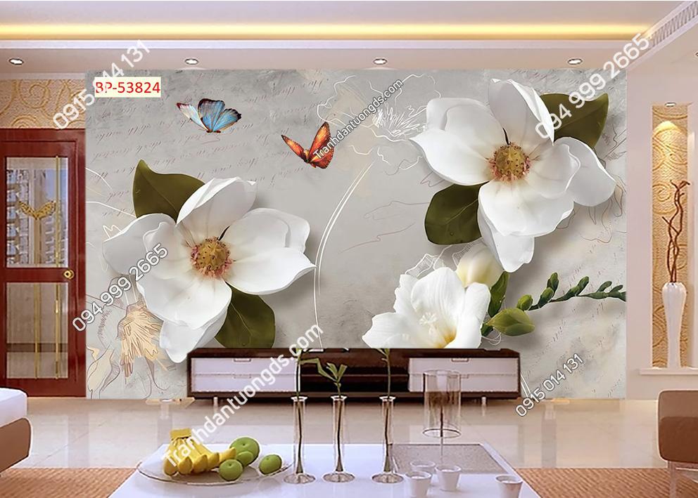 Tranh hoa trắng và bướm 53824