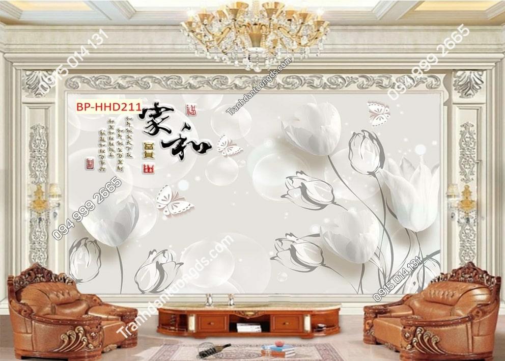 Tranh hoa trắng và thư pháp HHD211
