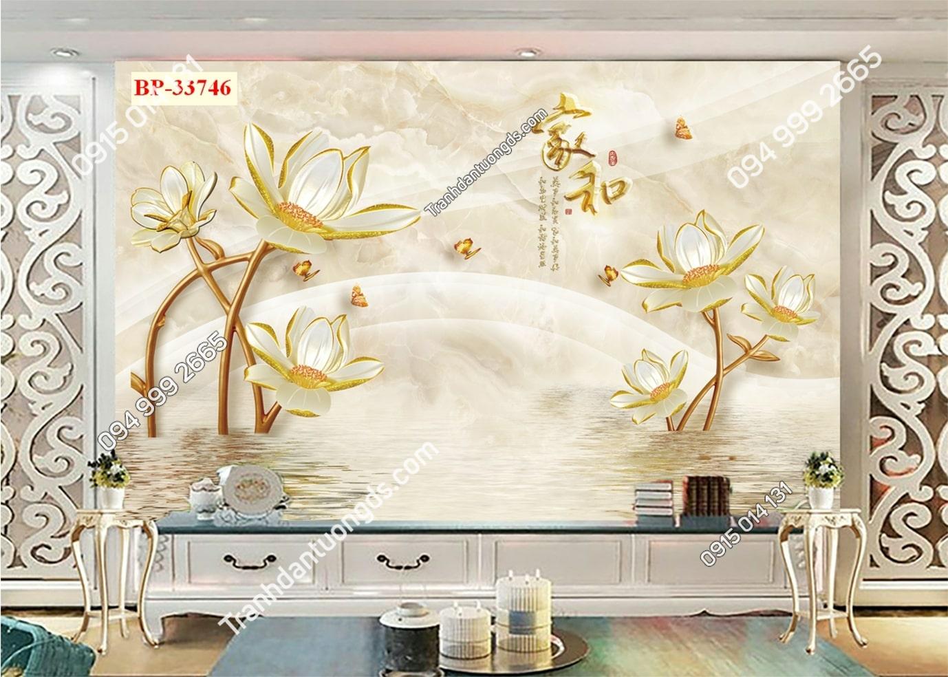 Tranh hoa trắng vàng 33746