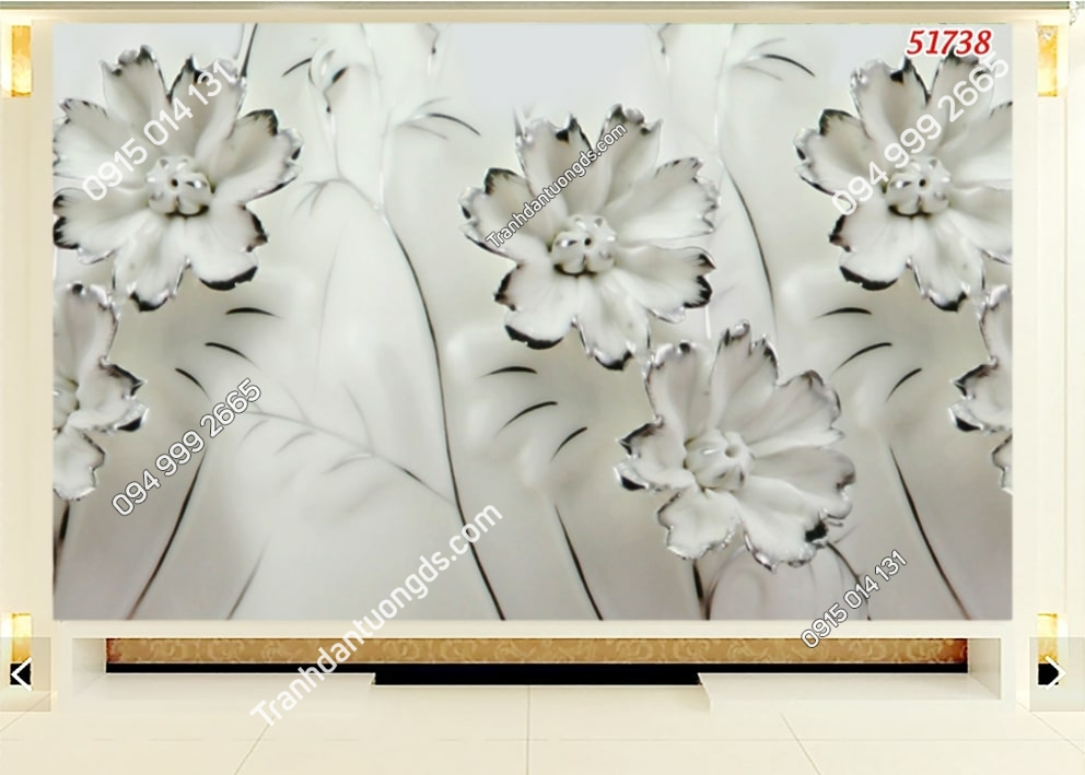 Tranh hoa trắng viền đen hiện đại 51738