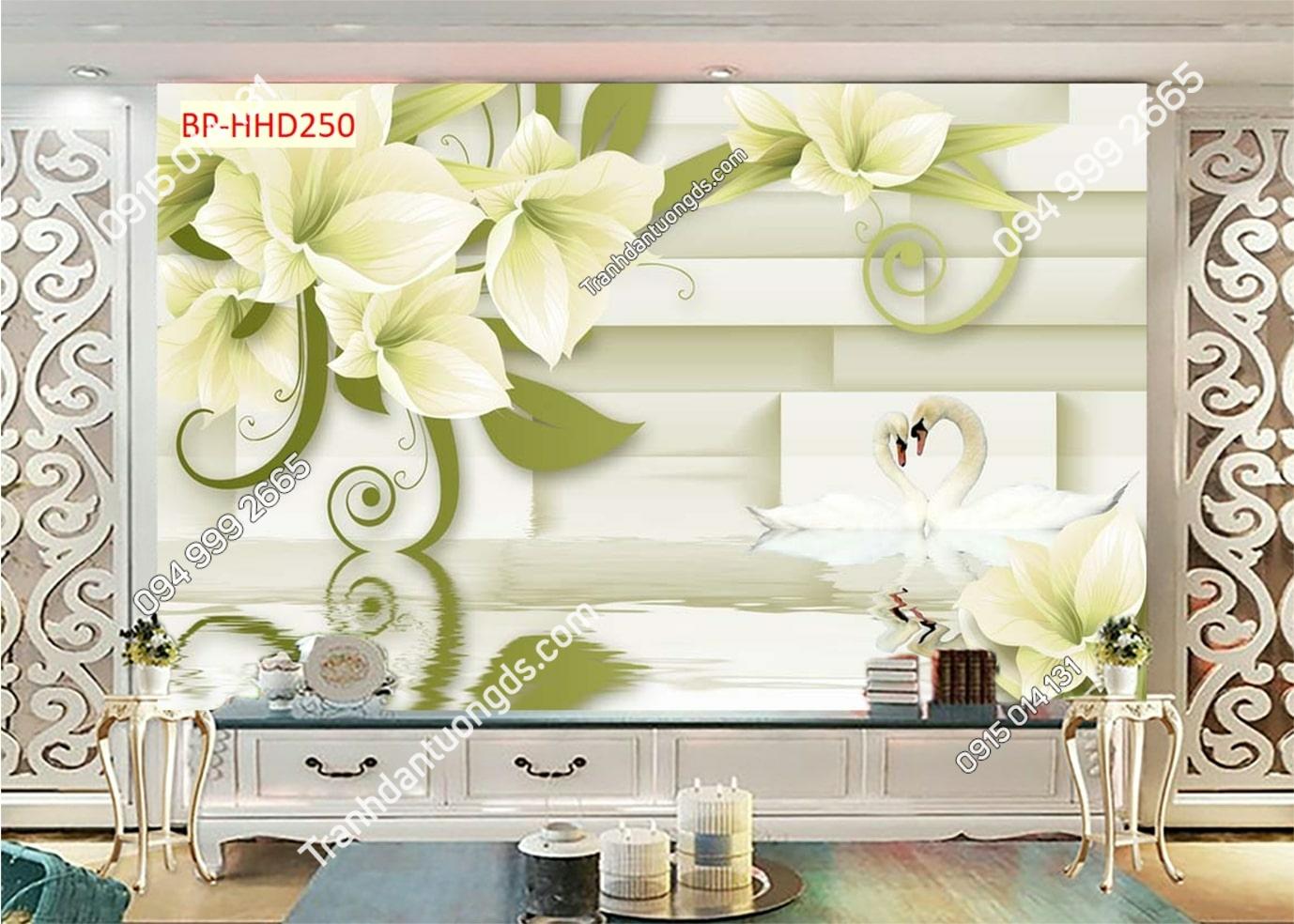 Tranh hoa trắng xanh HHD250