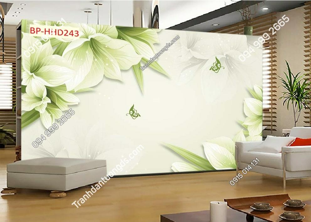 Tranh hoa trắng xanh hiện đại HHD243