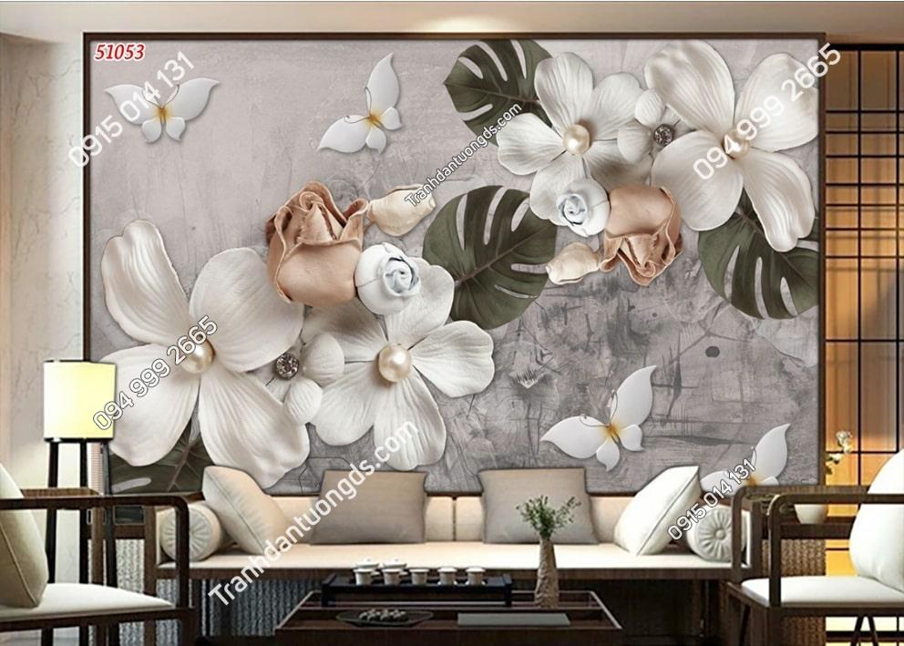 Tranh hoa và bướm 3D hiện đại 51053