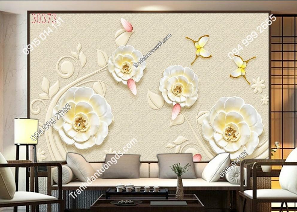 Tranh hoa và bướm dán phòng khách 30373