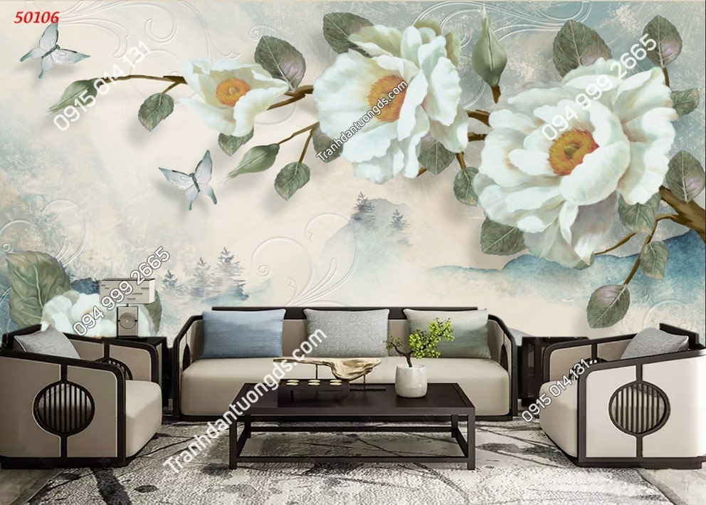 Tranh hoa và bướm hiện đại 50106