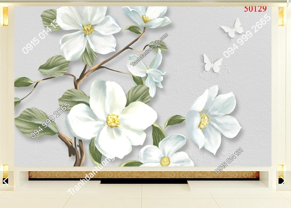 Tranh hoa và bướm hiện đại 50129
