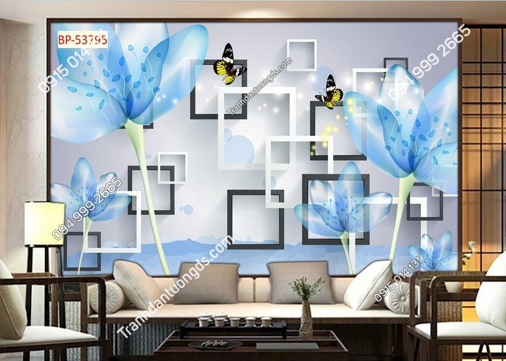 Tranh hoa và bướm xanh 3D dán tường 53795