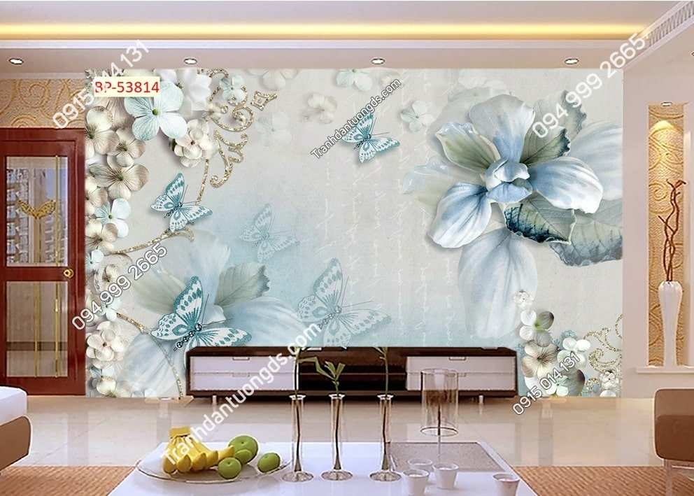 Tranh hoa và bướm xanh 3D dán tường 53814