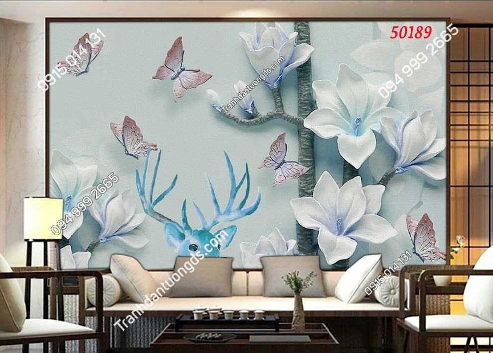 Tranh hoa và hươu xanh 3D 50189