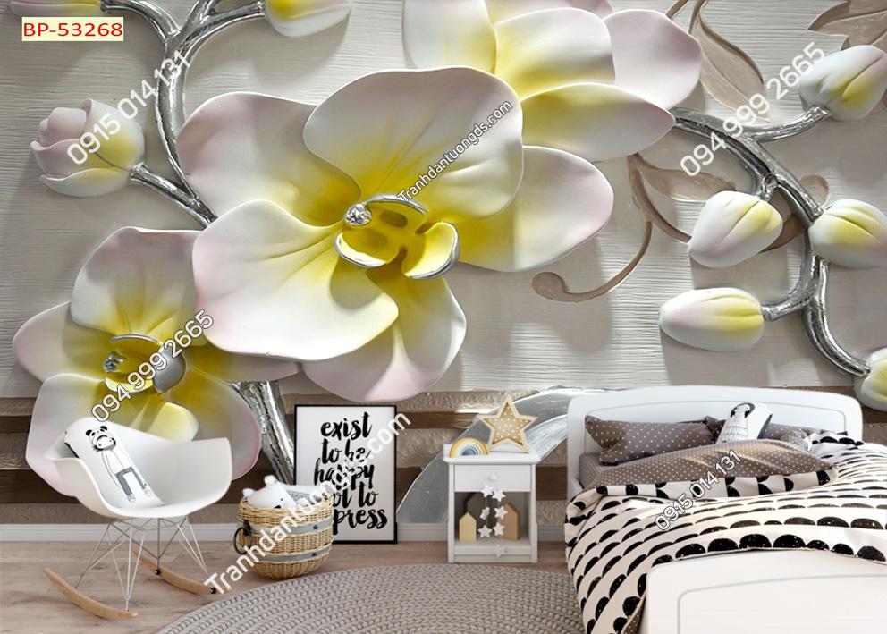 Tranh hoa và nụ hoa 3D dán phòng ngủ 53268