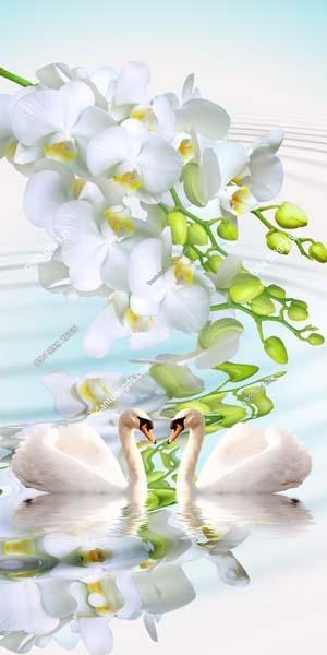 Tranh hoa và thiên nga khổ dọc TN1