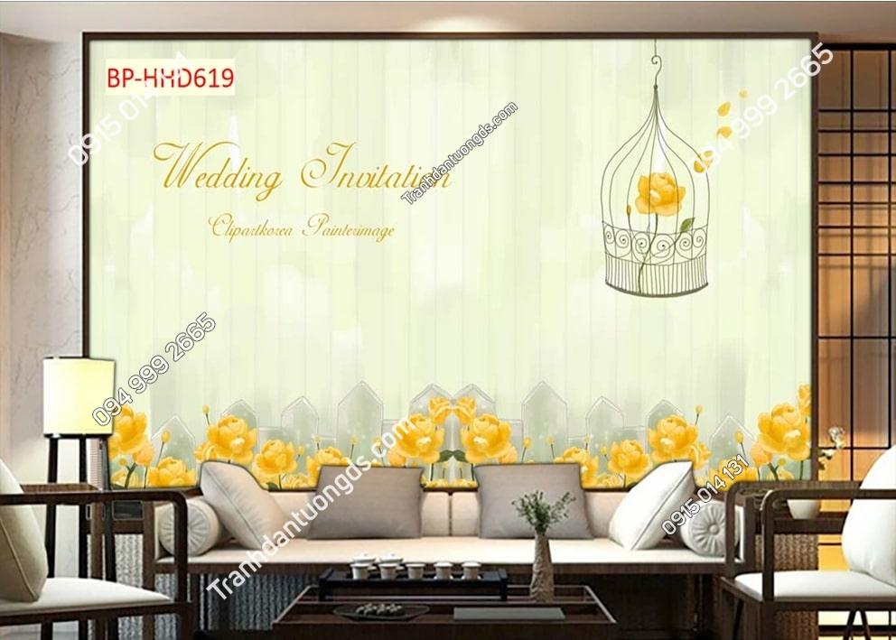 Tranh hoa vàng wedding HHD619