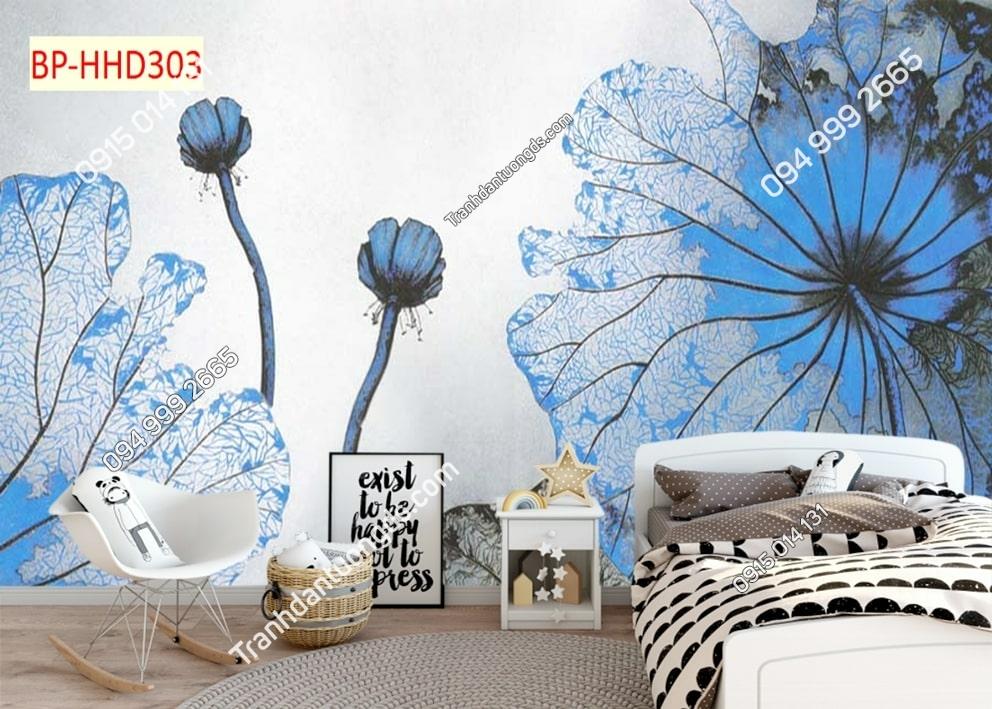 Tranh hoa xanh 3D dán tường HHD303