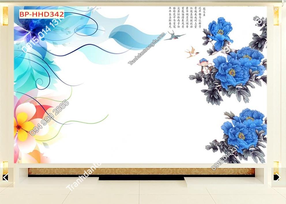 Tranh hoa xanh 3D dán tường HHD342