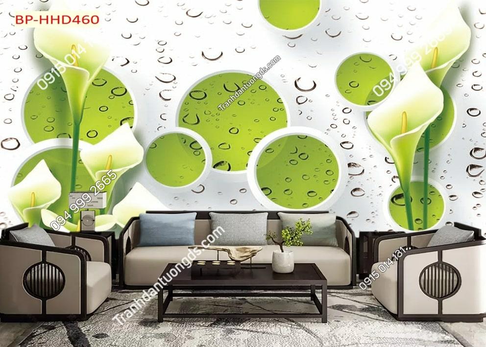 Tranh hoa xanh 3D dán tường HHD460