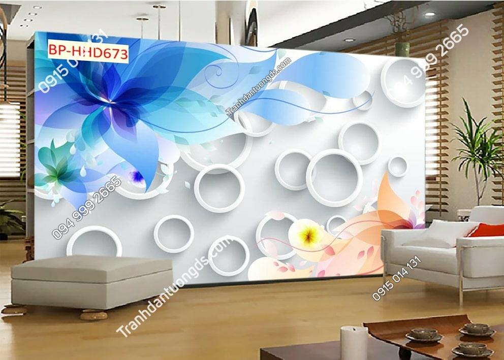 Tranh hoa xanh 3D dán tường HHD673