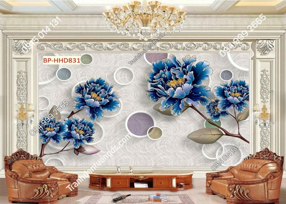 Tranh hoa xanh 3D dán tường HHD831