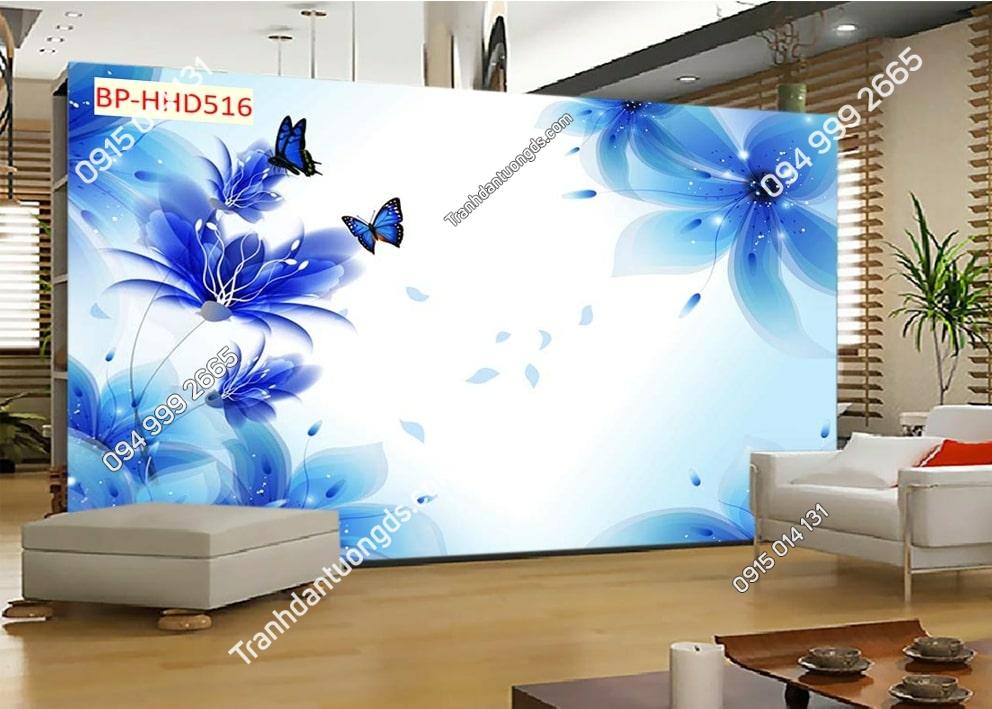 Tranh hoa xanh 3D dán tường phòng khách HHD516