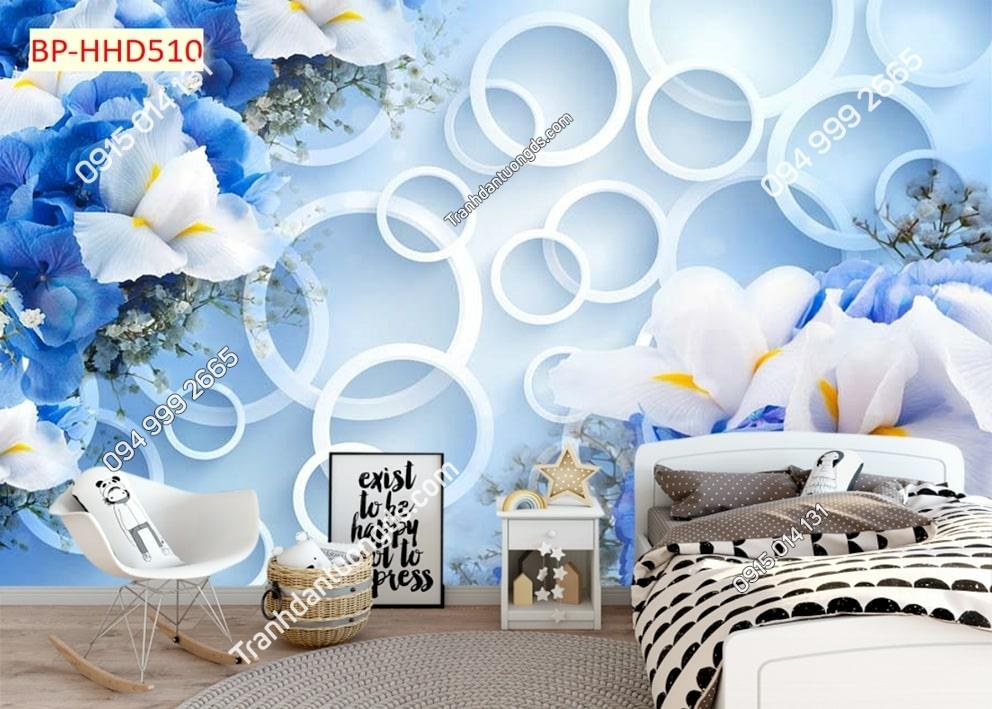 Tranh hoa xanh 3D dán tường phòng ngủ HHD510