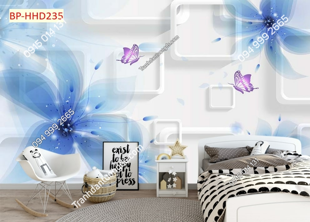 Tranh hoa xanh đẹp 3D dán tường phòng ngủ HHD235