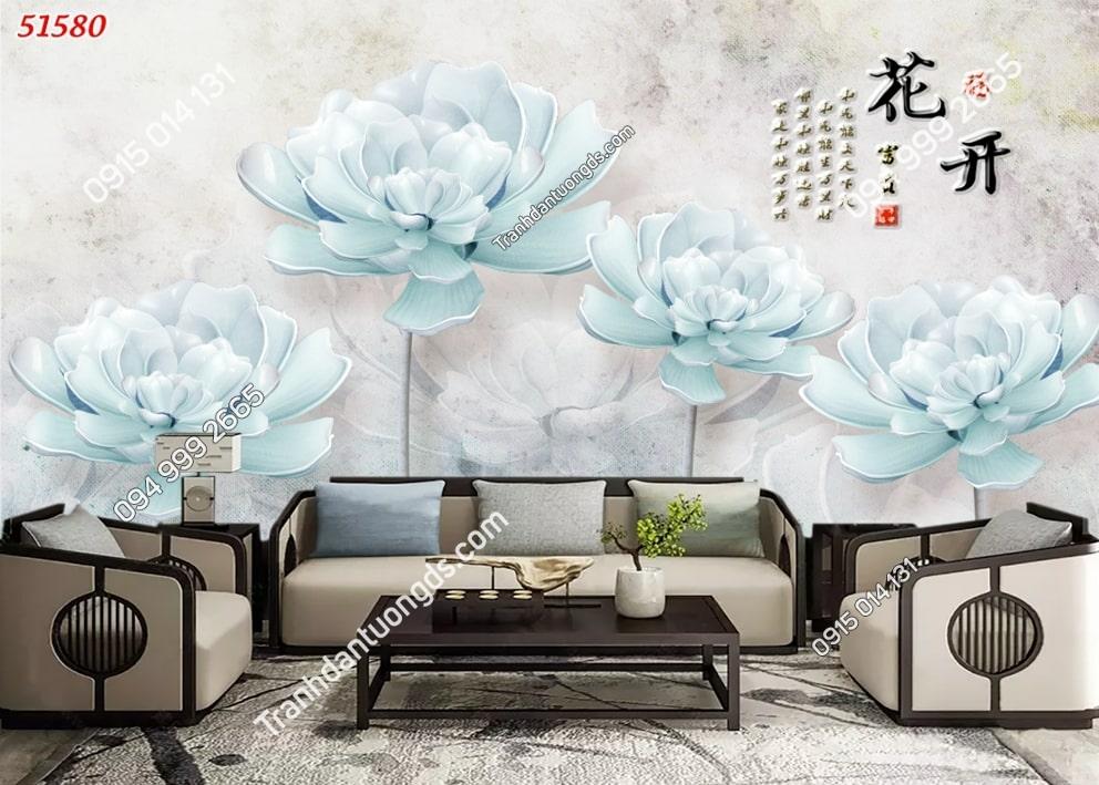 Tranh hoa xanh giả ngọc 3D 51580