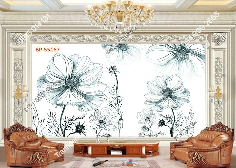 Tranh hoa xanh kiểu vẽ 3D 55167