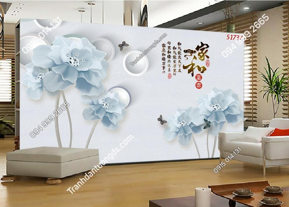 Tranh hoa xanh kim cương 3D 51737