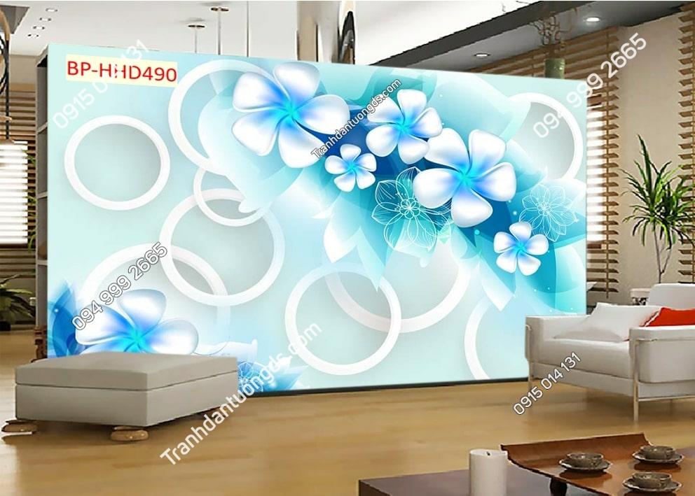 Tranh hoa xanh trắng 3D dán tường HHD490