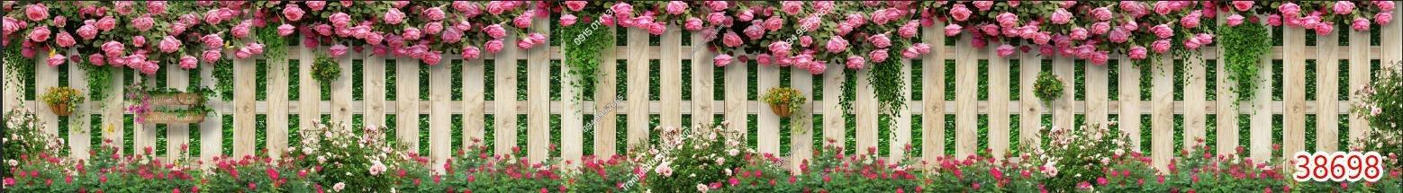 Tranh khổ dài hàng rào hoa hồng 38698