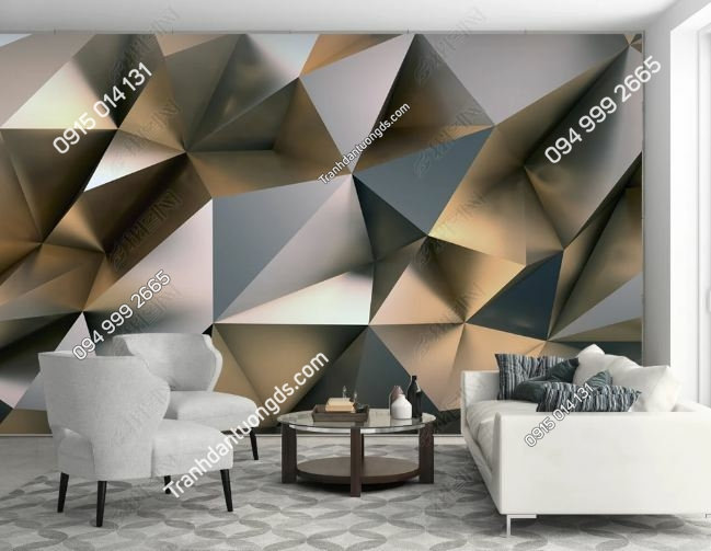 Tranh khối tam giác 3D dán tường phòng khách DS_17541594