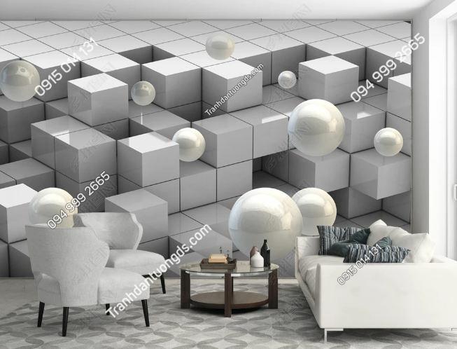 Tranh khối vuông 3D và ngọc trai DS_19186425